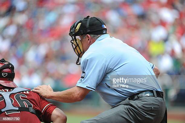MLB umpire Dale Scott is seen during the game between the Philadelphia Phillies and Arizona Diamondbacks on July 27 2014 at Citizens Bank Park in...
