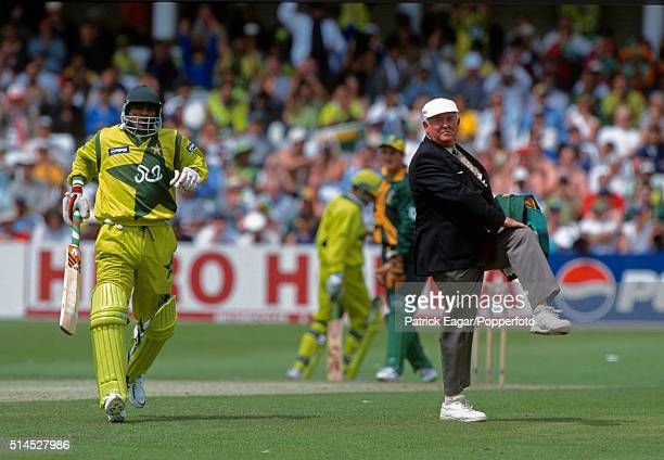 Umpire David Shepherd signals a leg bye as InzamamulHaq completes a run during the ICC World Cup Super Sixes match between Pakistan and South Africa...