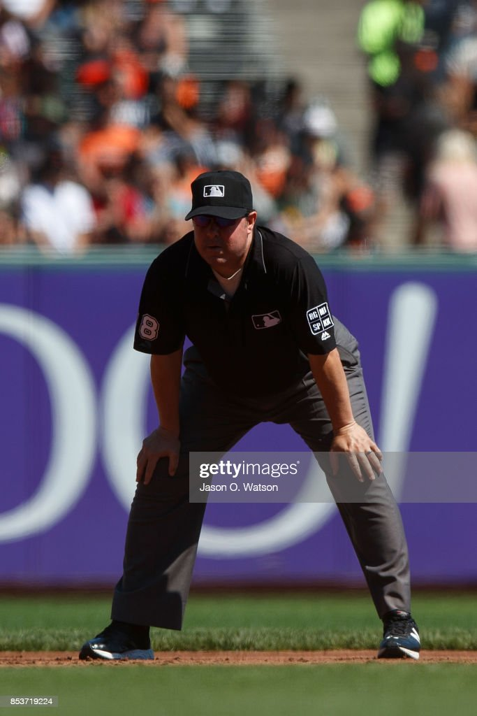 MLB umpire Doug Eddings #88 stands on the field during the second inning between the San Francisco Giants and the Arizona Diamondbacks at AT&T Park on September 17, 2017 in San Francisco, California. The San Francisco Giants defeated the Arizona Diamondbacks 7-2.