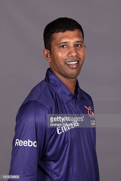 Umpire Kumar Dharmasena poses for a portrait ahead of the ICC T20 World Cup on September 14 2012 in Colombo Sri Lanka