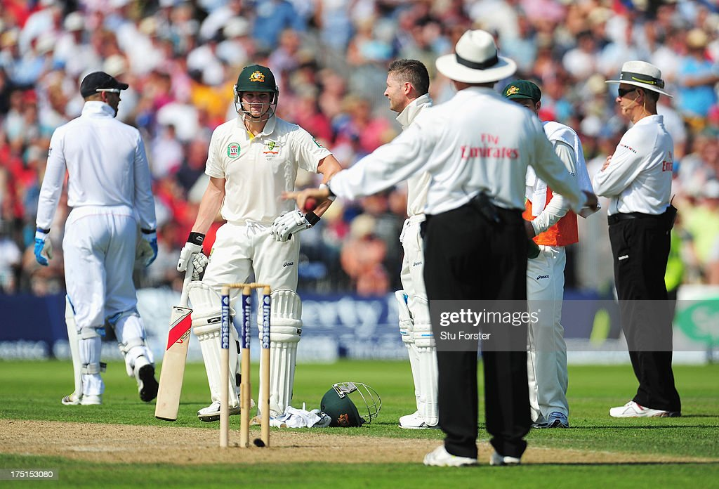 Umpire Marais Erasmus gives Steve Smith of Australia not out after it was referred to the third umpire during day one of the 3rd Investec Ashes Test match between England and Australia at Old Trafford Cricket Ground on August 1, 2013 in Manchester, England.