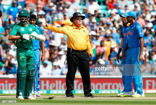 Umpire Marais Erasmus signals a wide and overturns the decision for the wicket of Pakistans Fakhar Zaman during the ICC Champions Trophy final...