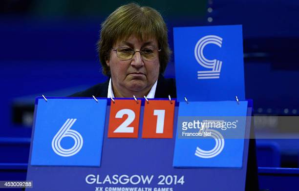 Umpire Margot Fraser of Engeland is pictured during the Men's Singles table tennis at Scotstoun Sports Campus during day eight of the Glasgow 2014...