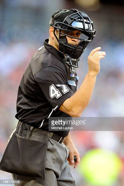Umpire Mark Wegner calls a strike during a baseball game between the Washington Nationals and the New York Mets on June 5 2012 at Nationals Park in...