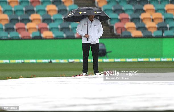 Umpire Mick Martell inspects the pitch as rain delays play on day two of the Second Test match between Australia and South Africa at Blundstone Arena...