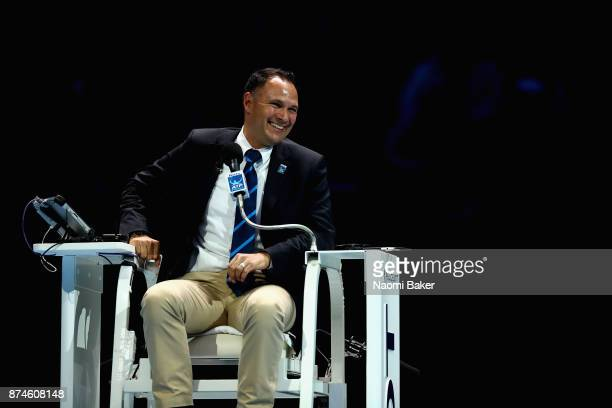 Umpire Mohamed Lahyani reacts during the doubles match between Jamie Murray of Great Britain Bruno Soares of Brazil Ivan Dodig of Croatia and Marcel...