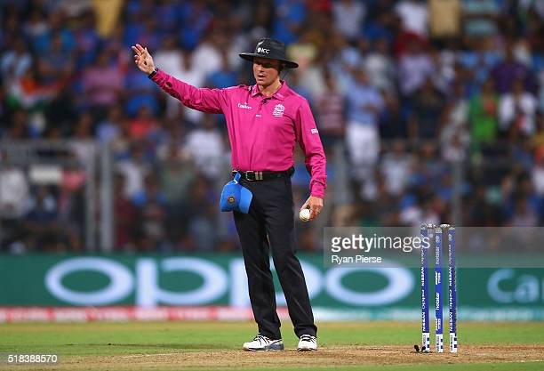 Umpire Richard Kettleborough calls a no ball after Lendl Simmons of the West Indies was caught off thr bowling of Ravichandran Ashwin of India during...