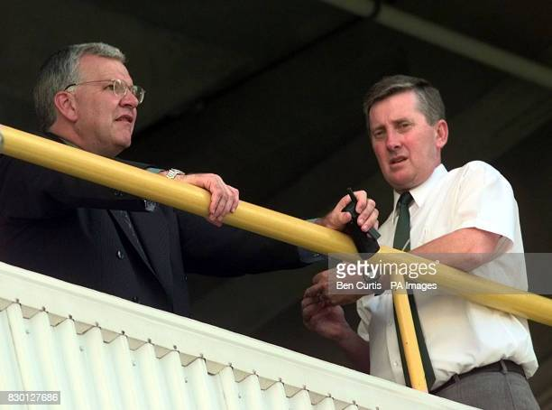 Umpire Ross Emerson match referee Peter Van der Merwe during a pause in proceedings at the disciplinary hearing at the WACA cricket ground in Perth...