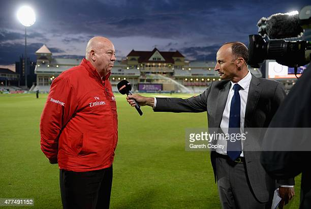 Umpire Steve Davis speaks to Sky Sports Nasser Hussain after umpiring his final ODI during the 4th ODI Royal London OneDay match between England and...