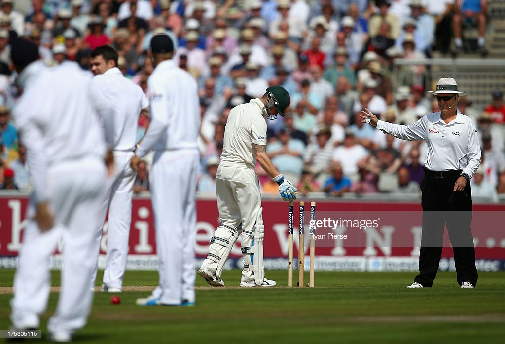 Umpire Tony Hill signals a no ball after James Anderson of England knocked the bails off during his delivery during day two of the 3rd Investec Ashes Test match between England and Australia at Emirates Old Trafford Cricket Ground on August 2, 2013 in Manchester, England.