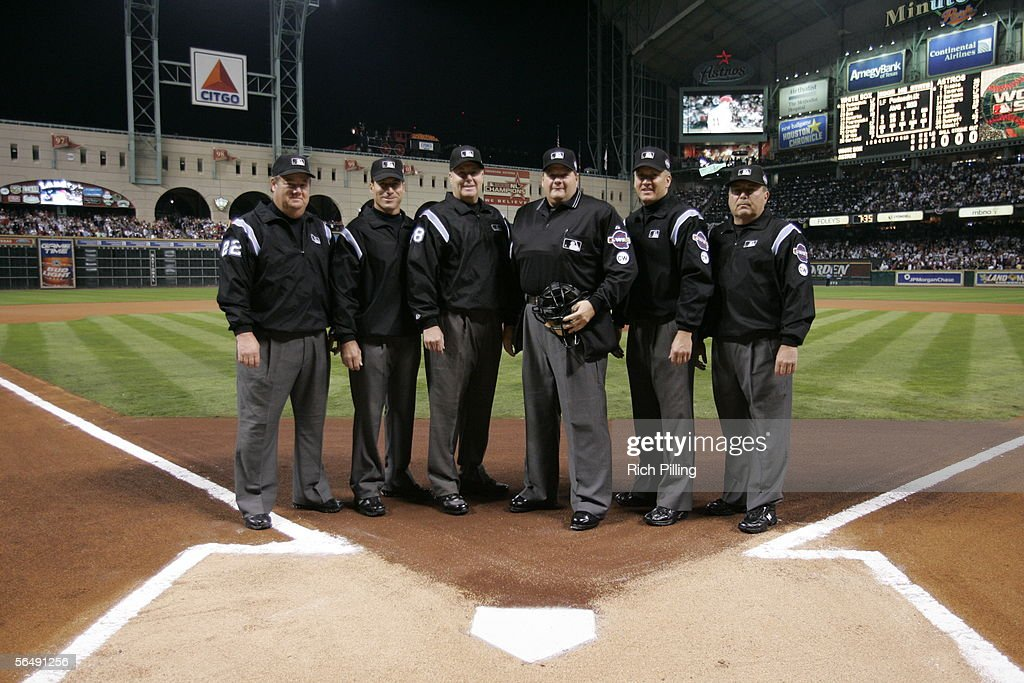 Umpires Joe West Angel Hernandez Gary Cederstrom Jerry Layne Jeff Nelson and Derryl Cousins are pictured before Game Three of the Major League...