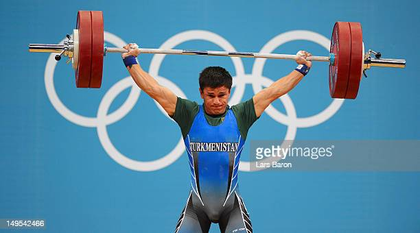 Umurbek Bazarbayev of Turkmenistan competes in the Men's 62kg Weightlifting on Day 3 of the London 2012 Olympic Games at ExCeL on July 30 2012 in...