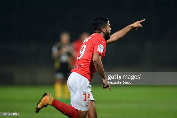 Umut Bozok of Nimes celebrates his Goal during the French Ligue 2 mach between Nimes and Niort at on September 22 2017 in Nimes France