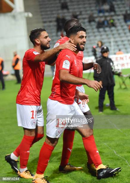 Umut Bozok of Nimes celebrates his second goal during the Ligue 2 match between Nimes Olympique and Brest on October 20 2017 in Nimes France