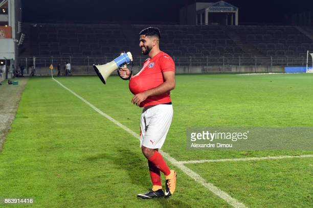 Umut Bozok of Nimes celebrates victory during the Ligue 2 match between Nimes Olympique and Brest on October 20 2017 in Nimes France