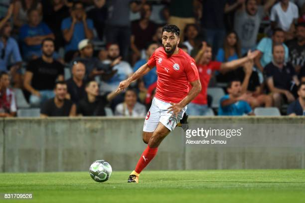 Umut Bozok of Nimes during the Ligue 2 match between Nimes Olympique and As Nancy Lorraine at Stade des Costieres on August 14 2017 in Nimes