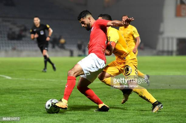 Umut Bozok of Nimes during the Ligue 2 match between Nimes Olympique and Brest on October 20 2017 in Nimes France