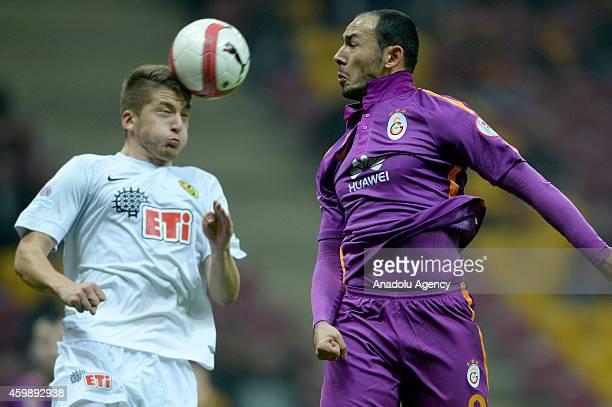 Umut Bulut of Turkish Football Club Galatasaray vies for the ball during Ziraat Turkish Cup Group G football match between Galatasaray and...