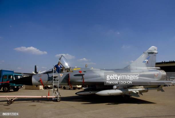 Un avion de chasse Mirage 2000 au Salon de l'aviation le 29 mai 1985 au Bourget France