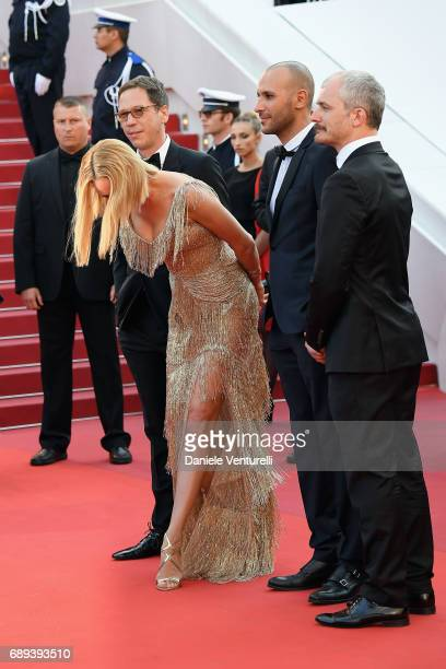 Un Certain Regard jury member Reda Kateb jury president Uma Thurman and jury members Mohamed Diab and Karel Och attends the Closing Ceremony during...