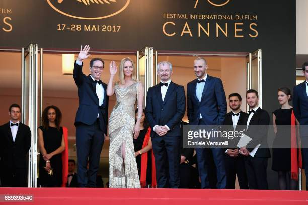 Un Certain Regard jury member Reda Kateb jury president Uma Thurman and jury members Mohamed Diab and Karel Och attend the Closing Ceremony during...