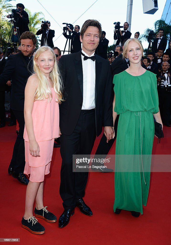 'Un Certain Regard' jury member Thomas Vinterberg and his daughters Ida and Nana attend the 'Zulu' Premiere and Closing Ceremony during the 66th...