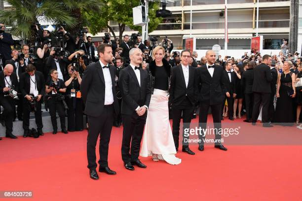 Un Certain Regard jury members Karel Och and Joachim Lafosse President of the jury Uma Thurman and jury members Mohamed Diab and Reda Kateb attend...