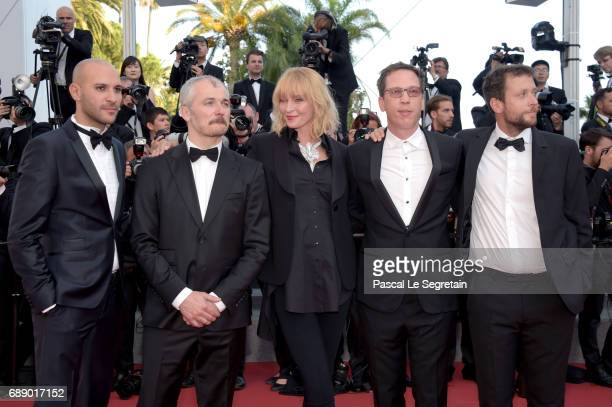 Un Certain Regard jury members Mohamed Diab Karel Och jury president Uma Thurman and jury members Reda Kateb and Joachim Lafosse attend the 'Based On...