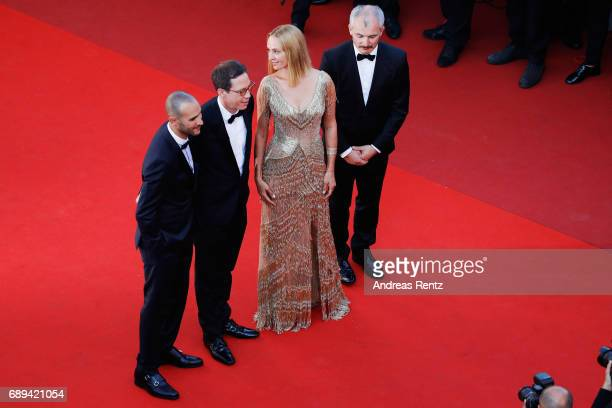 Un Certain Regard jury members Mohamed Diab Reda Kateb Uma Thurman and Karel Och attend the Closing Ceremony of the 70th annual Cannes Film Festival...