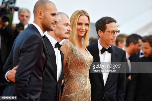 Un Certain Regard jury members Reda Kateb Uma Thurman Karel Och and Mohamed Diab attend the Closing Ceremony of the 70th annual Cannes Film Festival...
