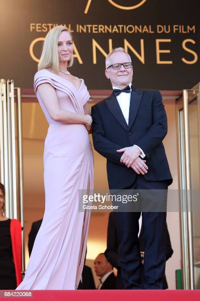 Un Certain Regard jury president Uma Thurman and Director of the Cannes Film Festival Thierry Fremaux attend the 'Ismael's Ghosts ' screening and...