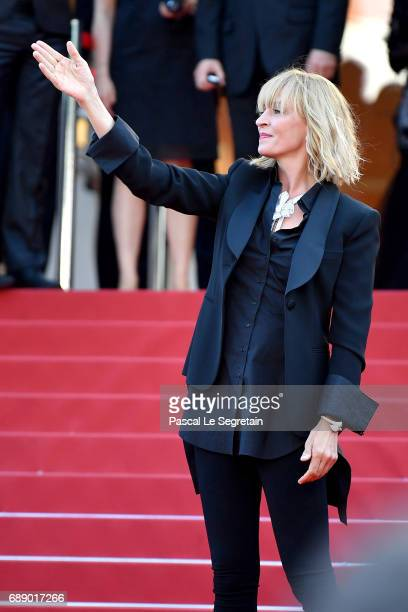 Un Certain Regard jury president Uma Thurman attends the 'Based On A True Story' screening during the 70th annual Cannes Film Festival at Palais des...