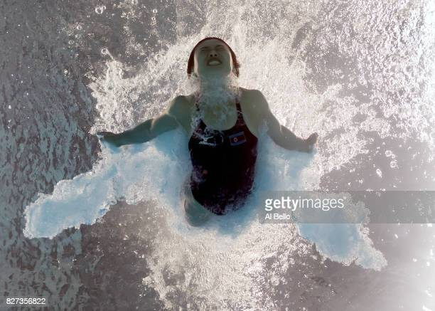 Un Hyang Kim of The Democratic People's Republic of Korea competes during the Womens 1M Springboard Diving preliminary round on day one of the...
