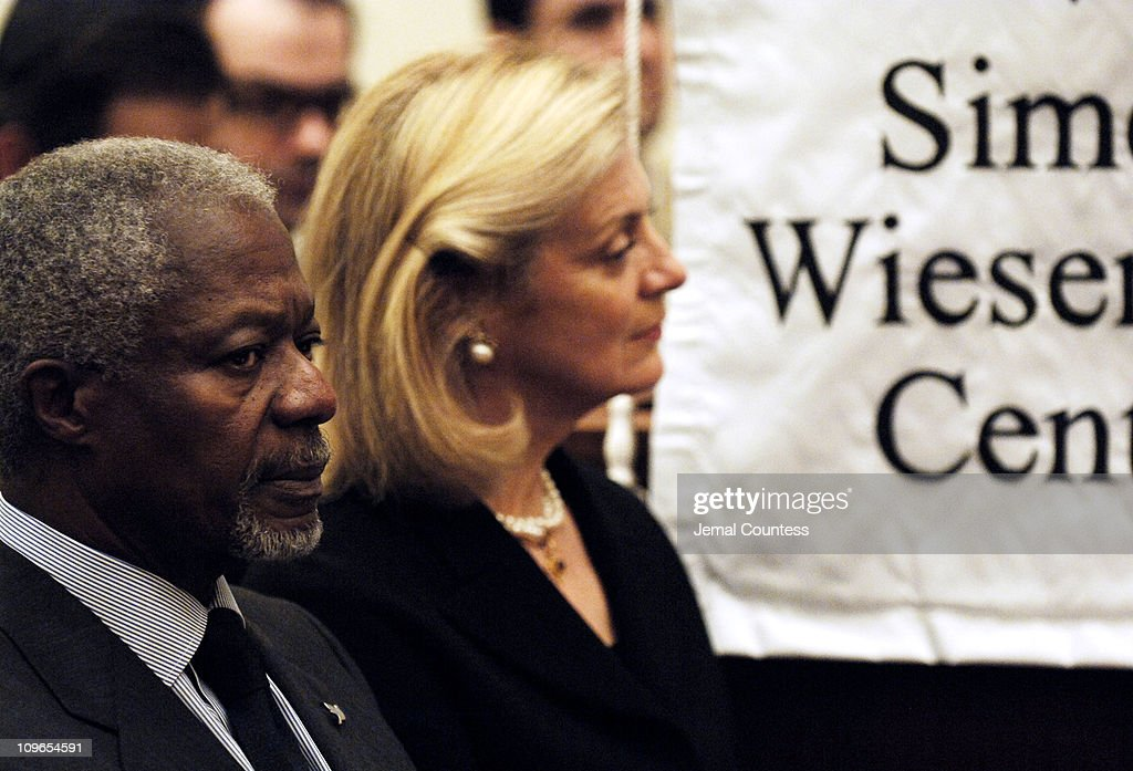 Un Secretary General Koffi Annan and wife <a gi-track='captionPersonalityLinkClicked' href=/galleries/search?phrase=Nane+Annan&family=editorial&specificpeople=220222 ng-click='$event.stopPropagation()'>Nane Annan</a> at the New York Memorial Service for <a gi-track='captionPersonalityLinkClicked' href=/galleries/search?phrase=Simon+Wiesenthal&family=editorial&specificpeople=3954474 ng-click='$event.stopPropagation()'>Simon Wiesenthal</a> on September 27, 2005 in New York City