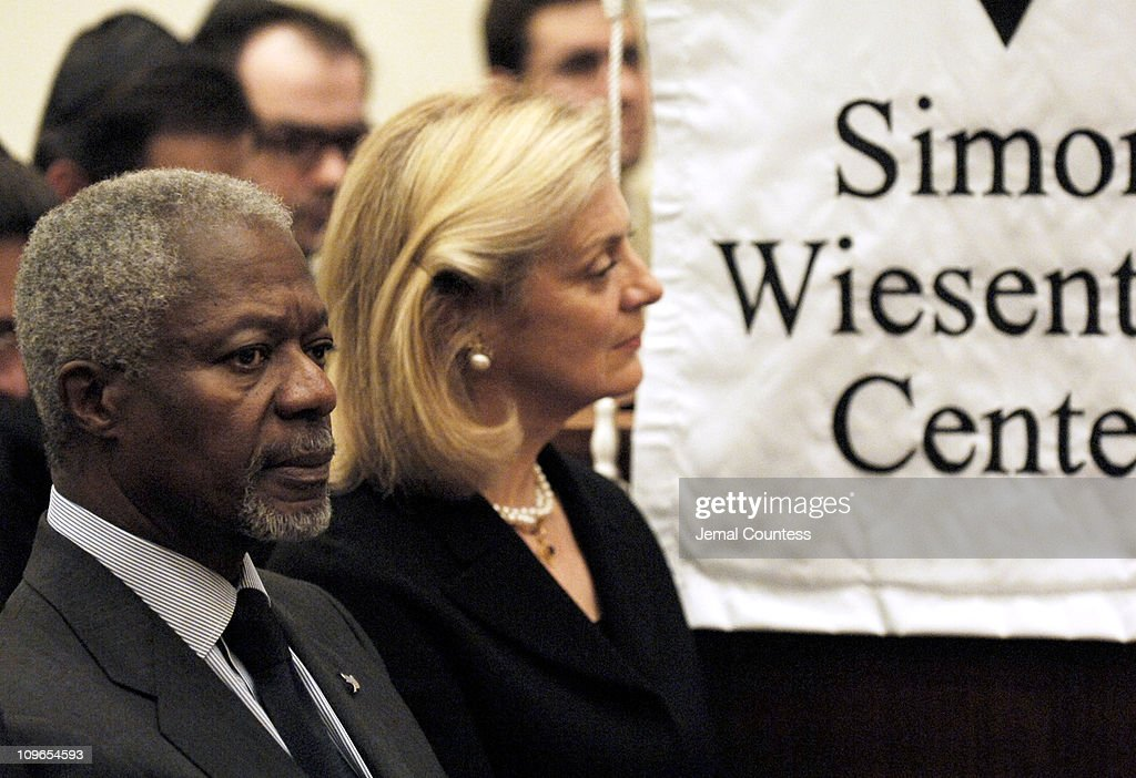 Un Secretary General Koffi Annan and wife Nane Annan at the New York Memorial Service for Simon Wiesenthal on September 27, 2005 in New York City