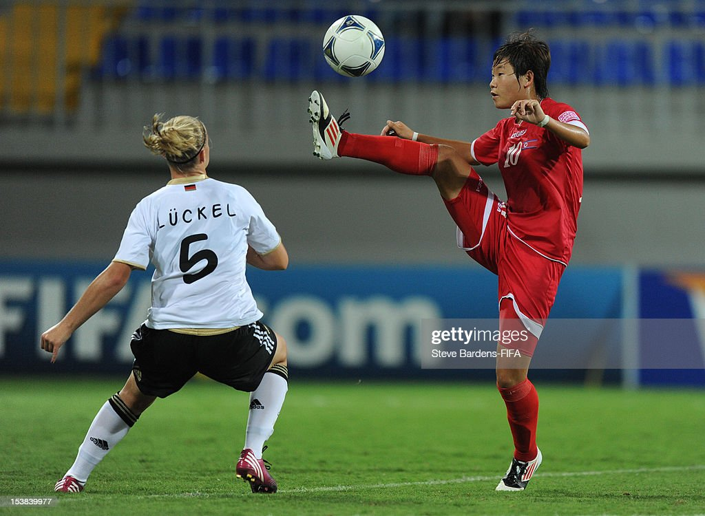 Un Sim Ri of Korea DPR in action during the FIFA U-17 Women's World Cup 2012 Semi-Final match between Korea DPR and Germany at 8KM Stadium on October 9, 2012 in Baku, Azerbaijan.