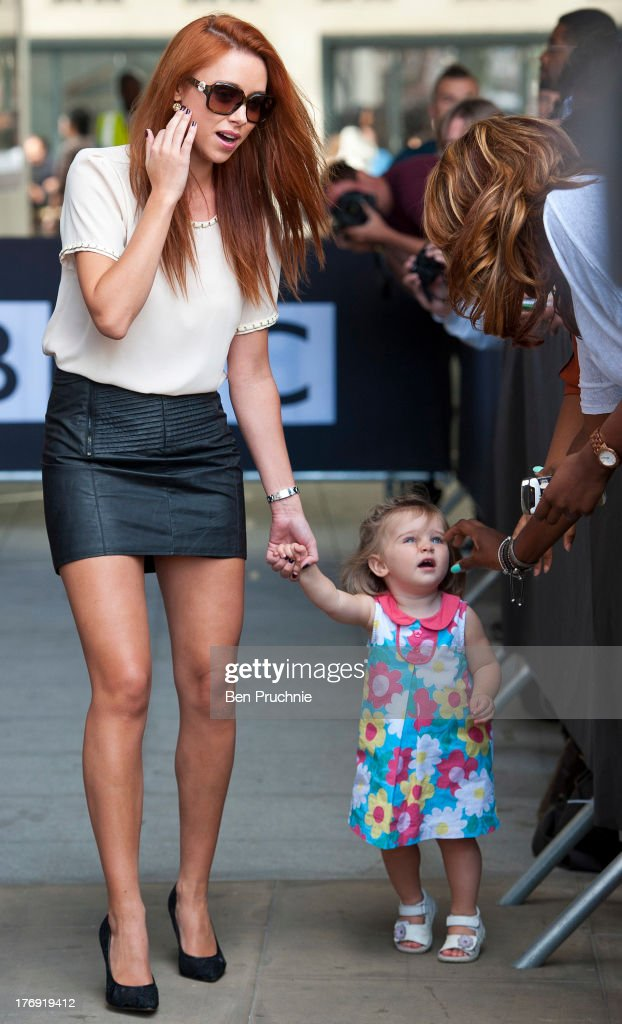 Una Healy and Aoife Belle Foden of The Saturdays sighted at BBC Radio 1 on August 19, 2013 in London, England.