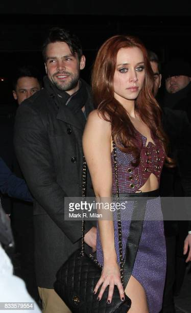 Una Healy and Ben Foden depart Amika Nightclub after celebrating The Saturdays reaching number 1 on March 23 2013 in London England