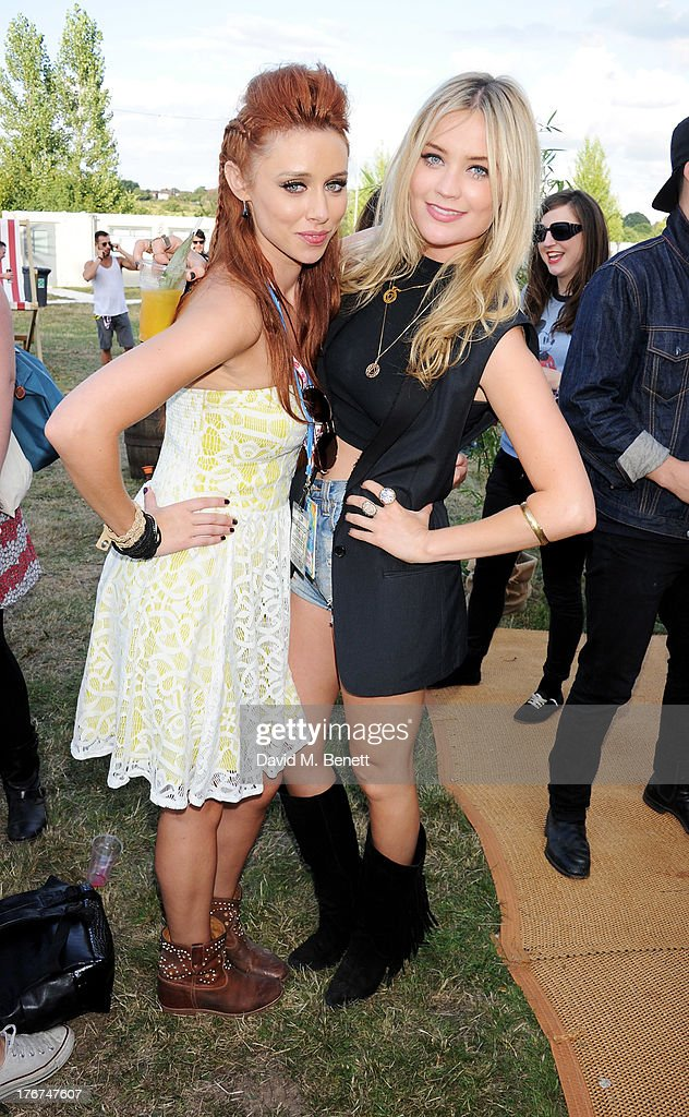 Una Healy (L) and Laura Whitmore attend the Mahiki Coconut Backstage Bar during day 2 of V Festival 2013 at Hylands Park on August 18, 2013 in Chelmsford, England.