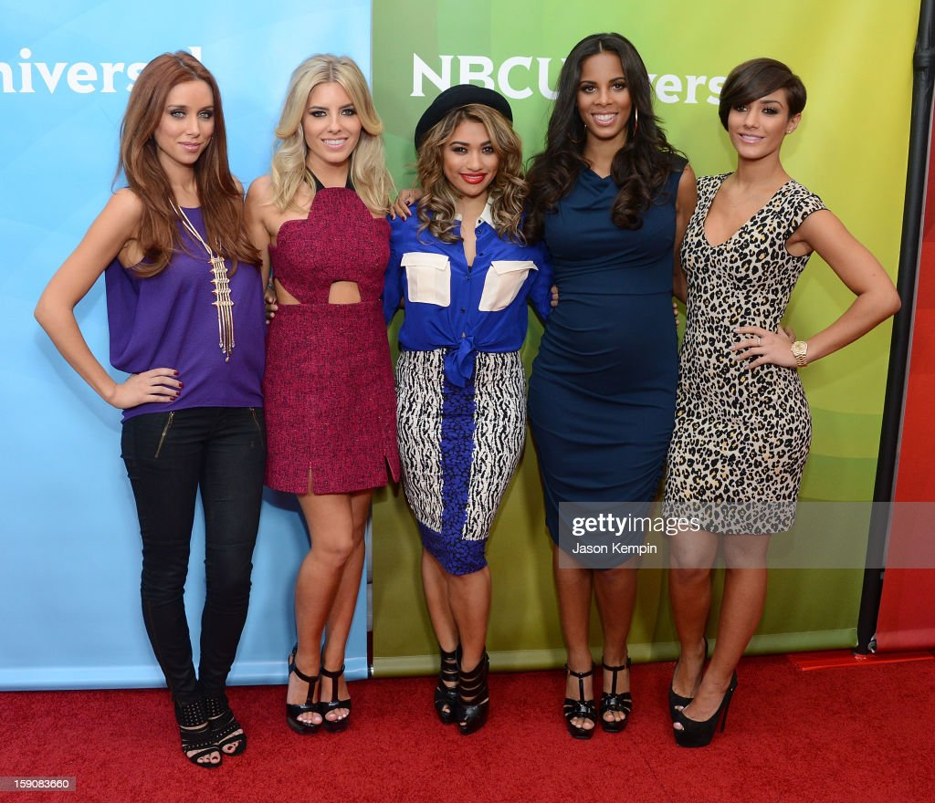 Una Healy Mollie King Vanessa White Rochelle Humes and Frankie Sandford of 'The Saturdays' attend NBCUniversal's '2013 Winter TCA Tour' Day 2 at...