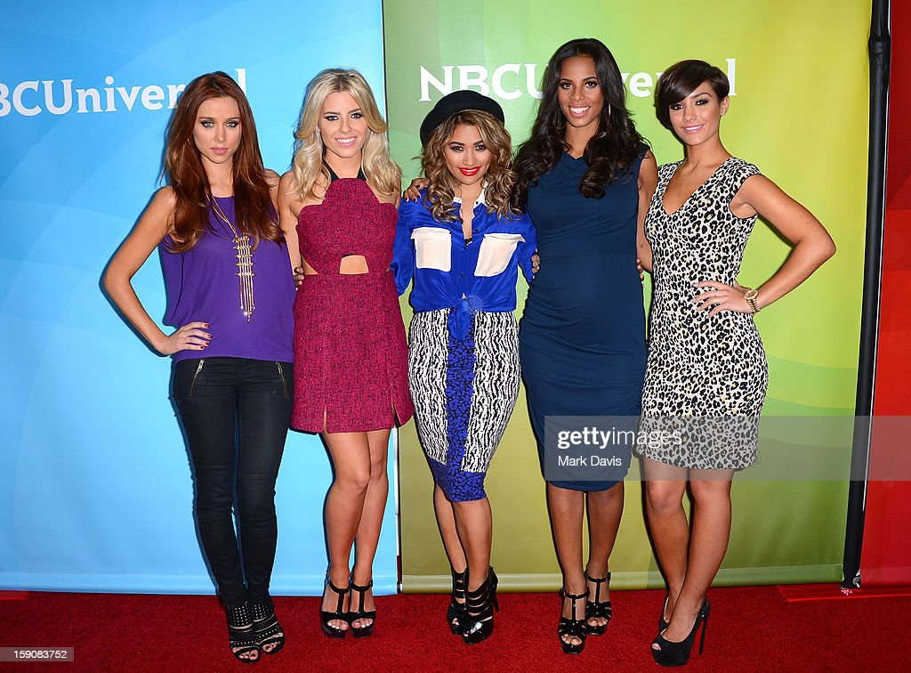 Una Healy, Mollie King, Vanessa White, Rochelle Humes and Frankie Sandford of 'The Saturdays' attend NBCUniversal's '2013 Winter TCA Tour' Day 2 at Langham Hotel on January 7, 2013 attends the 2013 TCA Winter Press Tour NBC Universal Day 2 at The Langham Huntington Hotel and Spa on January 7, 2013 in Pasadena, California.