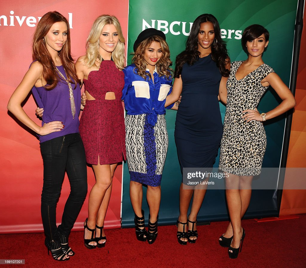 Una Healy, Mollie King, Vanessa White, Rochelle Wiseman and Frankie Sandford of The Saturdays attend the 2013 NBC TCA Winter Press Tour at The Langham Huntington Hotel and Spa on January 7, 2013 in Pasadena, California.