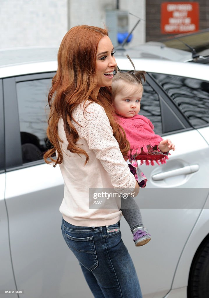 Una Healy of The Saturdays pictured leaving the ITV studios on March 21, 2013 in London, England.