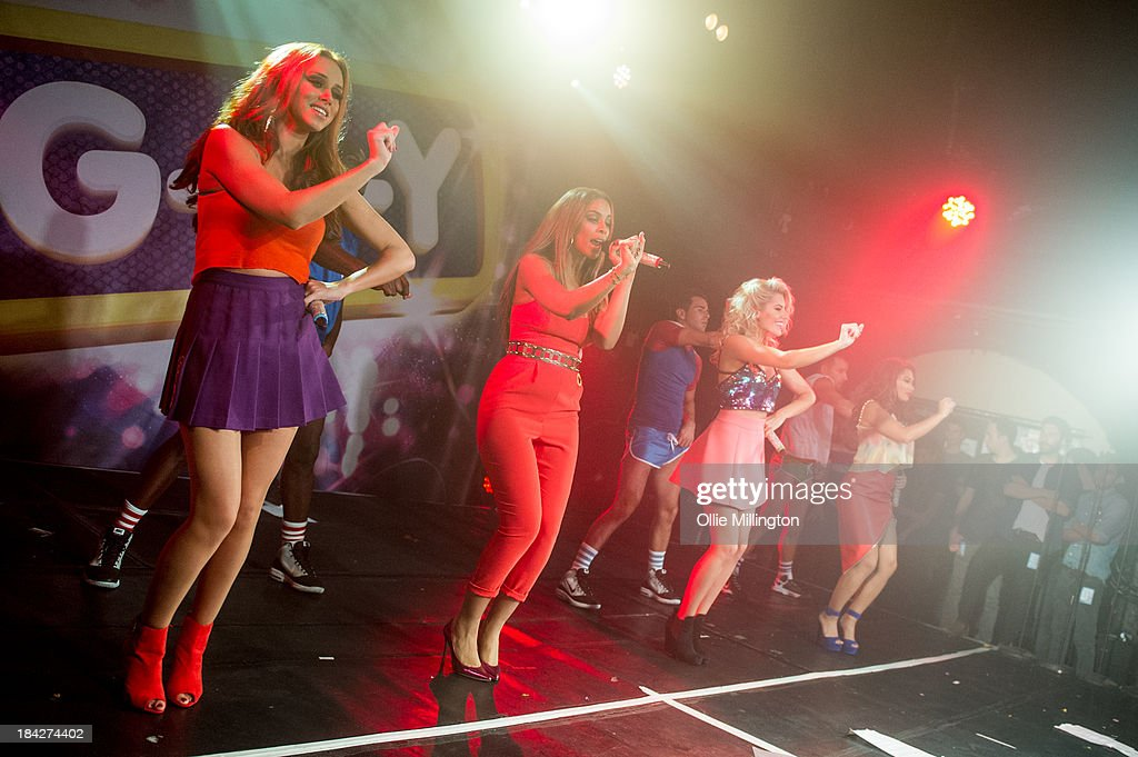 Una Healy, Rochelle Humes, Mollie King and Vanessa White of The Saturdays perform at G-A-Y on October 12, 2013 in London, England.