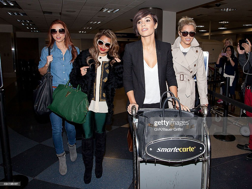 Una Healy Vanessa White Frankie Sandford and Mollie King of The Saturdays are seen at Los Angeles International Airport on January 05 2013 in Los...