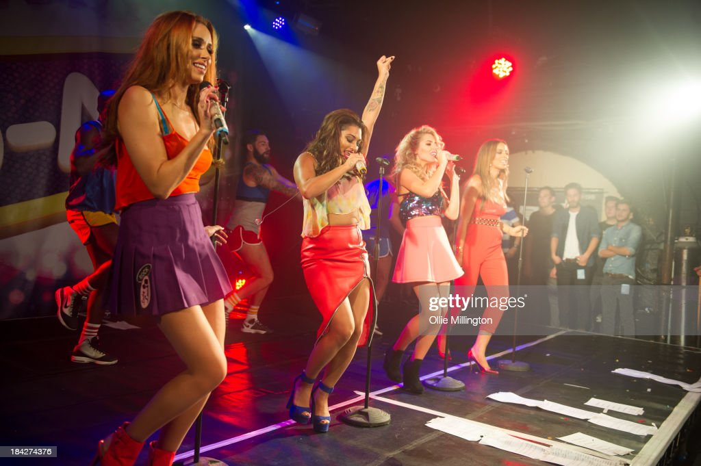 Una Healy, Vanessa White, Mollie King and Rochelle Humes of The Saturdays perform at G-A-Y on October 12, 2013 in London, England.