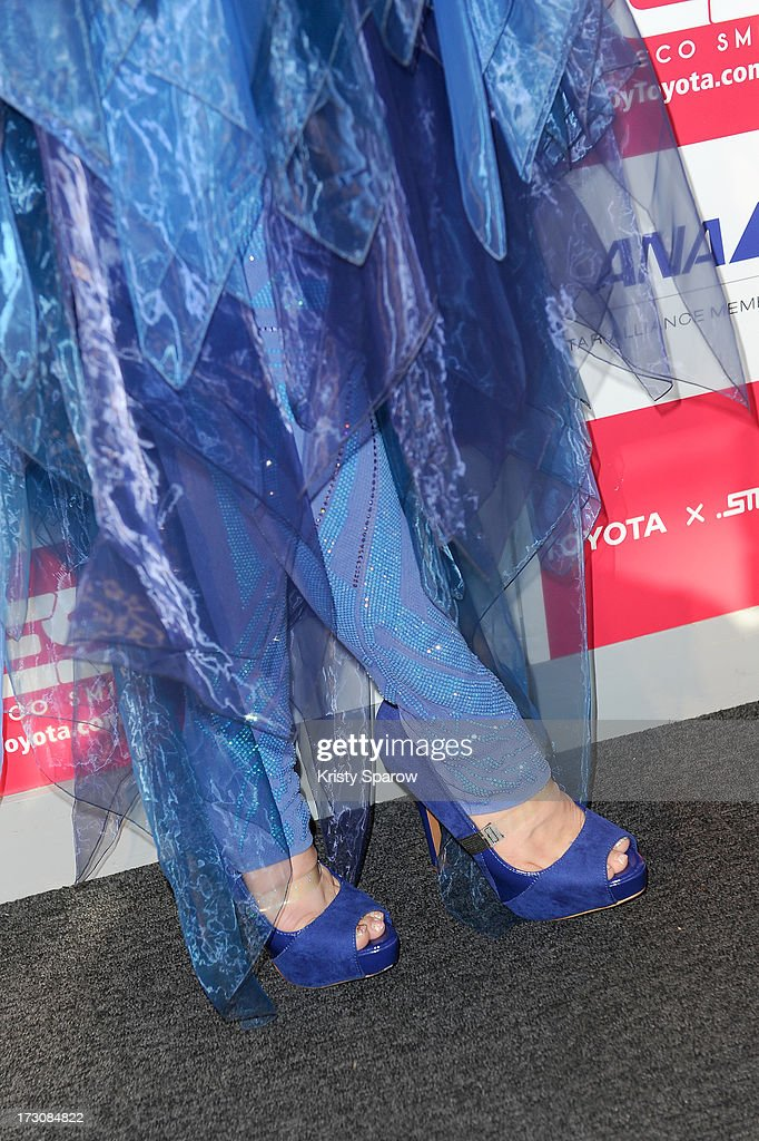 Una (shoe detail/legging detail) meets with the press during the Japan Expo at Paris-nord Villepinte Exhibition Center on July 6, 2013 in Paris, France.
