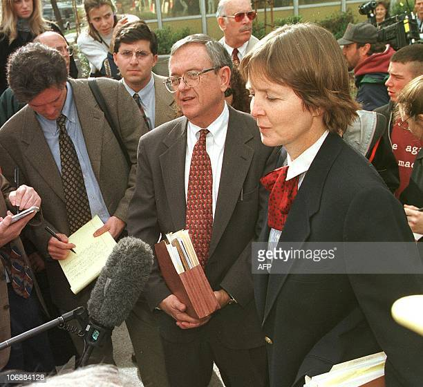 Unabomber suspect Theodore Kaczynski's defense team Quin Denvir and Julie Clarke respond to questions during a press conference outside the Federal...