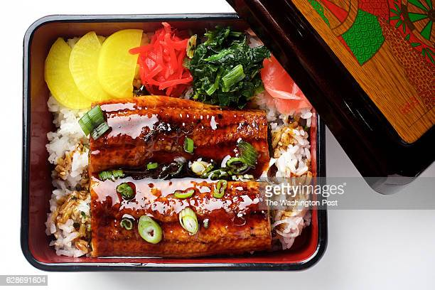 WASHINGTON DC Unagi Donburi served in a decorative box at KanjiKana a Japanese restaurant in Washington DC