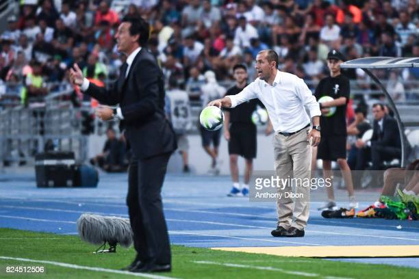 Unai Emery coach of PSG and Leonardo Jardim coach of Monaco during the Champions Trophy match between Monaco and Paris Saint Germain at Stade...